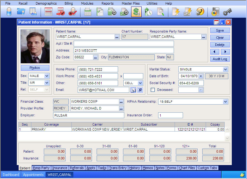 Example of EHR registration screen.
